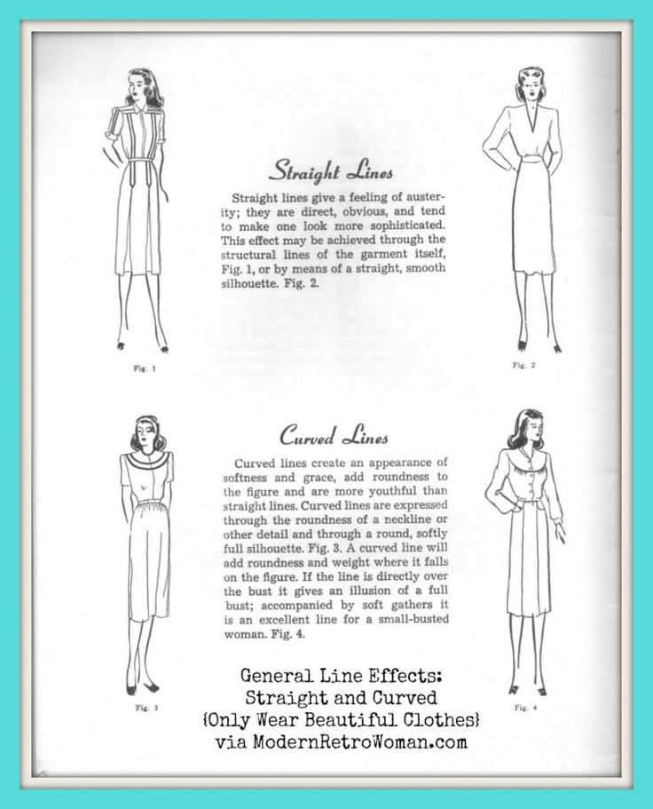 General Line Effects: Straight and Curved; from Simplified Systems of Sewing and Styling by Doris Anderson, 1948.