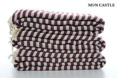 Oversized Beach Blankets   Burgundy   Striped   Bedspread   Queen   Large Beach Blankets   Bed Cover   Large Beach Towels   by Mon Castle