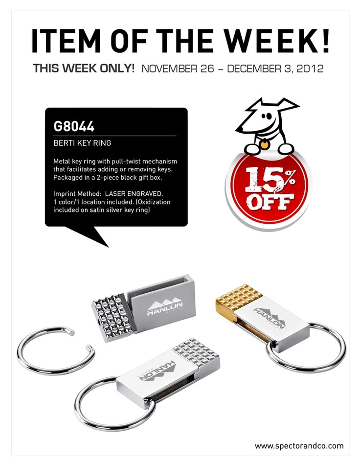 """Get 15% OFF on our Berti Key Ring!! Please mention promo code: """"88FB00G8044"""" on your p.o.!"""