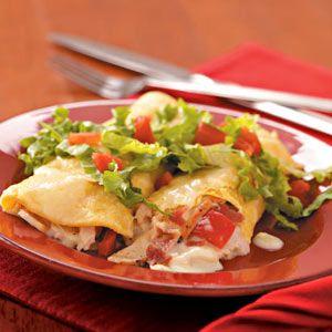 Club-Style Turkey Enchiladas - bacon, Swiss cheese and left-over turkey!