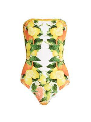 Citrus-print strapless swimsuit | Stella McCartney | MATCHESFASHION.COM US