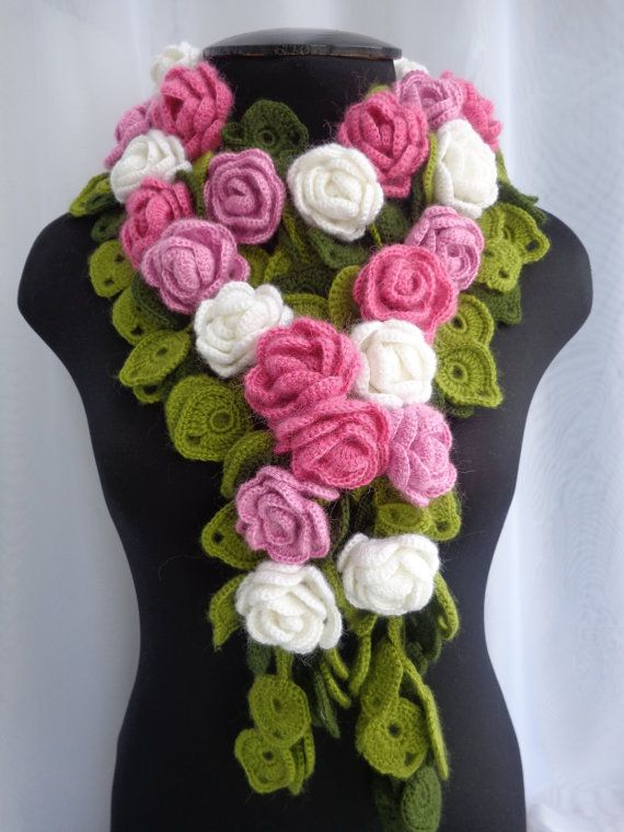 Crocheted scarf rose branch festive accessories gift for women flower necklace color choices LoveKnittings