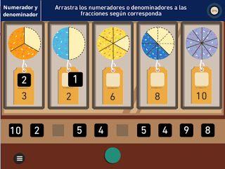 Numerador y denominador. Juego de fracciones. Calculandox. Juegos educativos para descargar gratis en Windows.