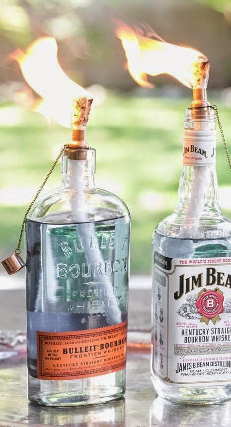 DIY Tiki Torch Bottles | Recycle old liquor bottles just in time for patio season!