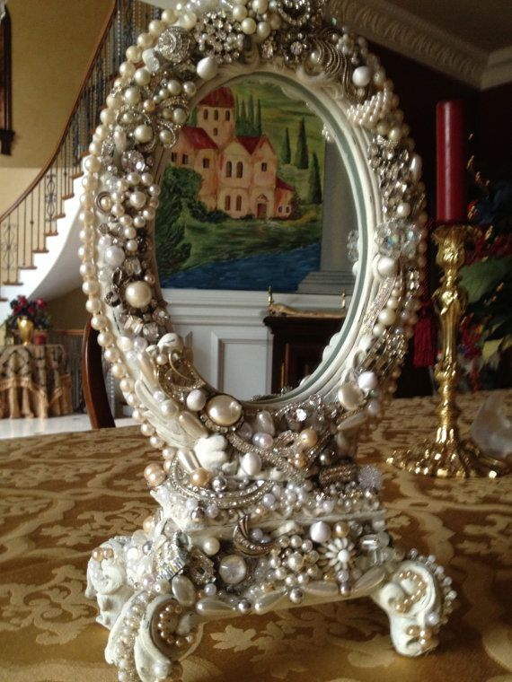 Mirror Embellished With All Vintage Jewelry