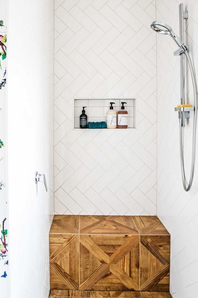 Wood stool in shower - awesome!  Someday ours won't all be pink tile :). Maybe we will just keep the pink floor!
