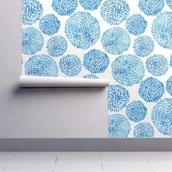 Japanese Wallpaper Japanese Garden By Tasiania Japan Blue Etsy Self Adhesive Wallpaper Peel And Stick Wallpaper Wallpaper