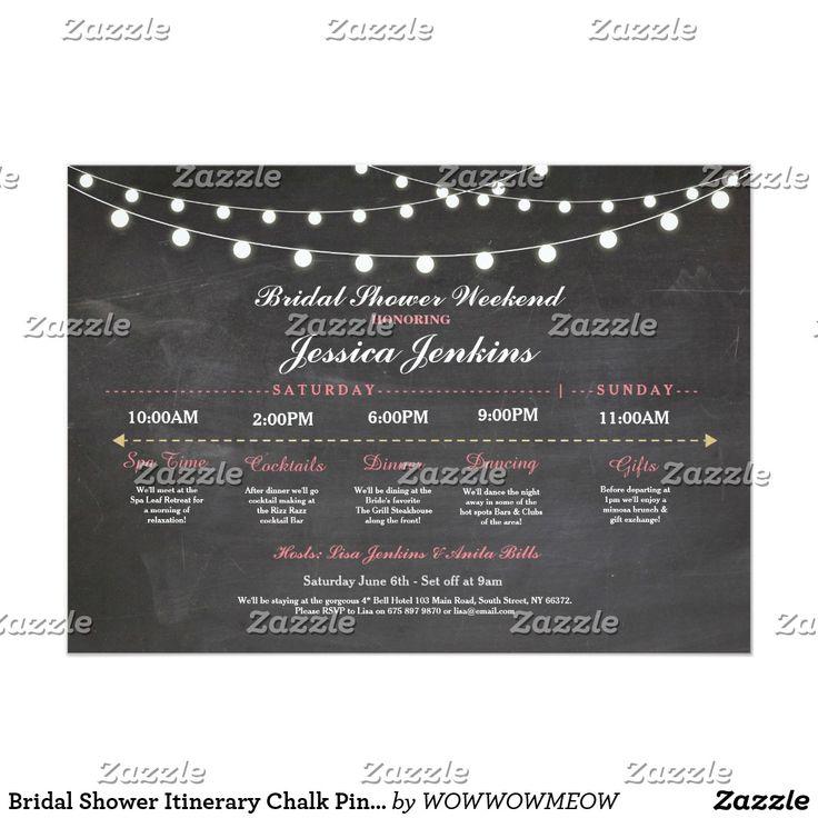 Bridal Shower Itinerary Chalk Pink Bachelorette Card