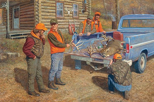 Another self portrait. Actually, I am 4 of the 5 people in the painting. Can you tell which one killed the buck?Available asArtist Proof (Edition size 150)Original Oil (Canvas size 24x 36)