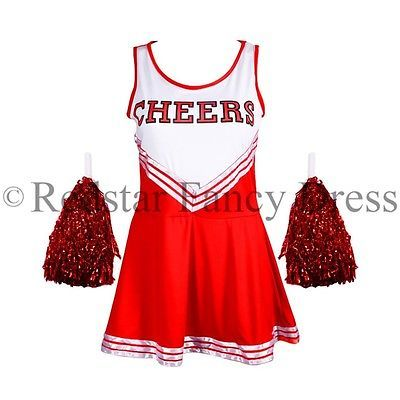 Ladies red cheerleader fancy #dress outfit high school #uniform #costume pom poms, View more on the LINK: http://www.zeppy.io/product/gb/2/252074299456/