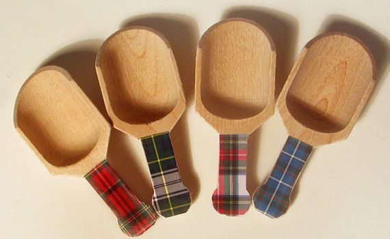 Tartan Plaid Wooden Scoops - Set of 4