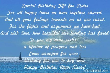 Special Birthday Gift for Sister, Sister Birthday Poem