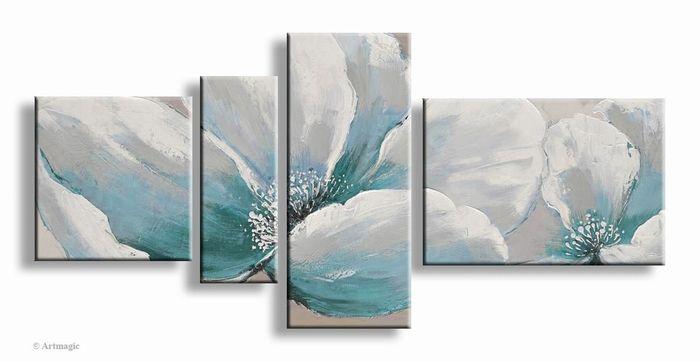 Modern bloemen schilderij in aardetint turquoise