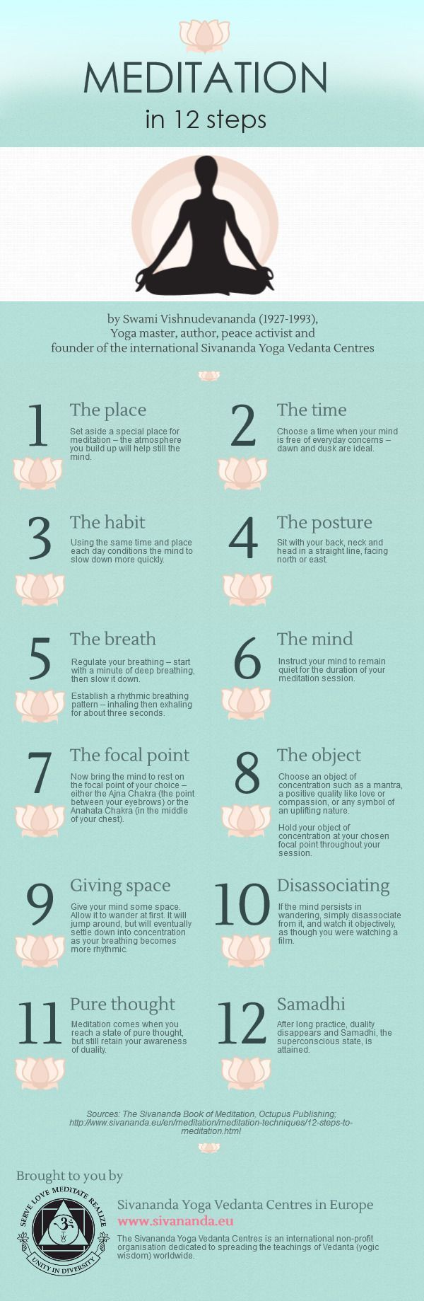 Meditation in 12 Steps infographic