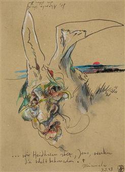 Selbstbildnis als Hase By Horst Janssen ,1993