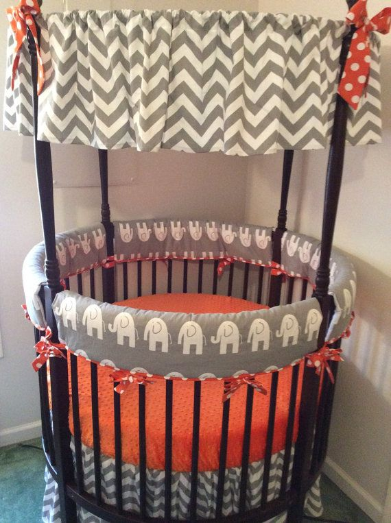 Round Crib Bedding Set Orange and Gray