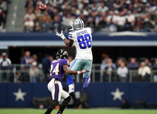 Dez Bryant Photos Photos - Dez Bryant #88 catches a pass from Dak Prescott #4 of the Dallas Cowboys during the second quarter against the Baltimore Ravens at AT&T Stadium on November 20, 2016 in Arlington, Texas. - Baltimore Ravens v Dallas Cowboys