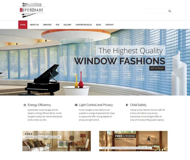 2015 / Website design for Supershade - Toronto leader in Hunter Douglas window fashions.  #webdesign #webdevelopment #eggsmedia #websitedesign  #blinds #shades #hunterdouglas