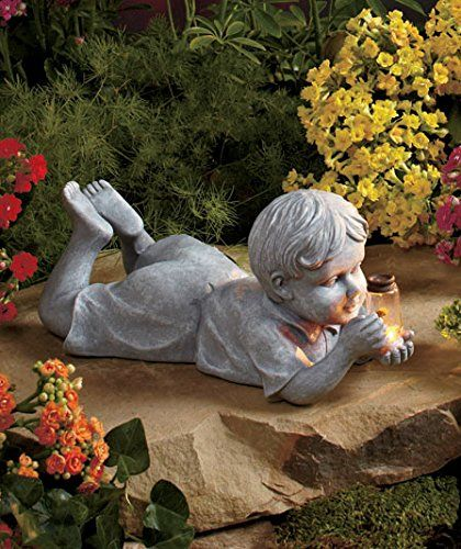 Outdoor Decoration Little Boy Kid Statue With Solar