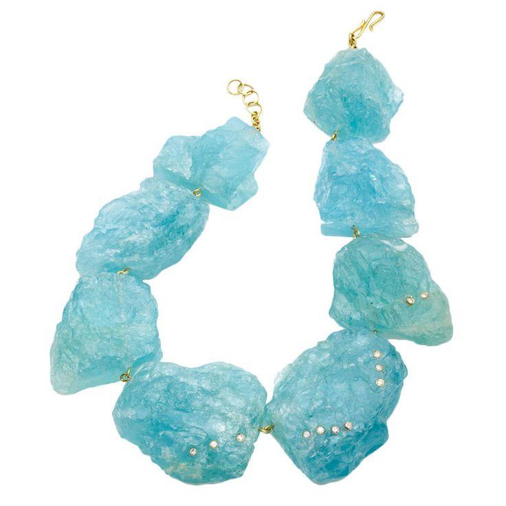Kara Ross Arctic Ice necklace, large raw aquamarine chunks with briliant cut diamonds