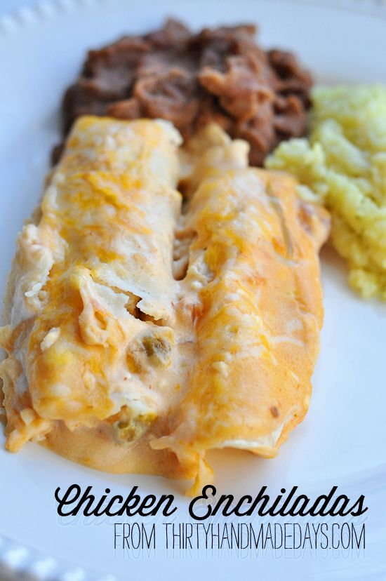 Mom's Chicken Enchiladas- easy and soooo good on @30daysblog.Chickenenchiladas, White Chicken Enchilada Recipe, Mom Chicken, Mom Recipe, Chicken Enchiladas Recipe, Easy White Chicken Enchiladas, Moms Chicken Enchiladas, Easy Mom Meals, Chicken Enchiladas Easy
