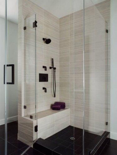 Lovely shower... Nice accenting with fixtures/hardware...