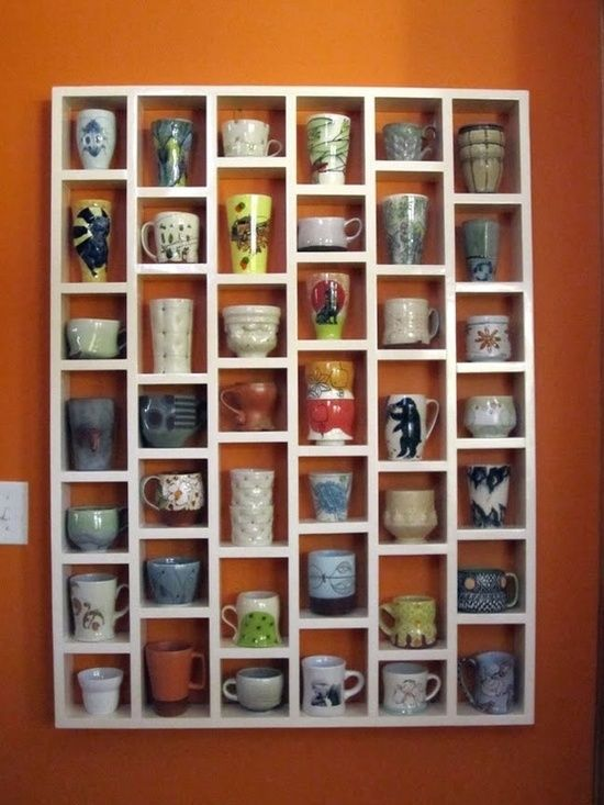 Kitchen idea ? mug shelf! this is a very cool idea... put loyal/regular guests own mugs on the shelf so they can use their own personal mugs when they come in! Could do w wine glasses too!