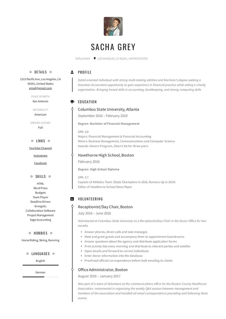 Volunteer Resume Example in 2020 Guided writing, Resume