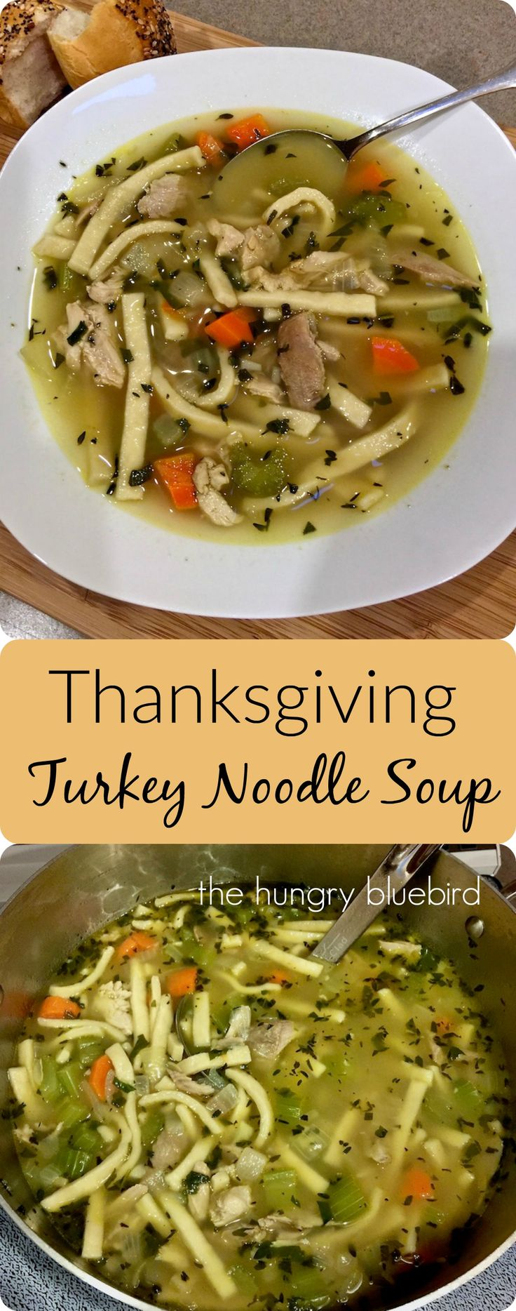 Old-fashioned turkey noodle soup, using your Thanksgiving turkey leftovers, carcass and all.