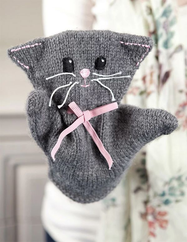 Knitting Pattern for Katie Kitty Puppet - Cat hand puppet ...