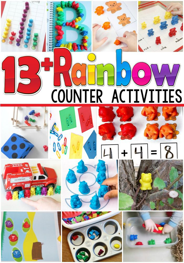 So many fun activities using rainbow counters!! Bears, frogs, clips, farm animals!! Wow! I want to do all of these rainbow counter ideas!