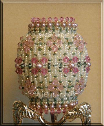Beaded Easter Egg Pattern:  Brocade Easter Egg; Beadwork Designs by Joanie Jenniges