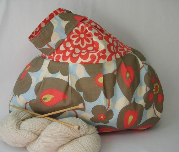 Japanese Knot Bag - Project bag - large size - for knitting crochet - Amy Butler Morning Glory Wall Flower - free knitting pattern too