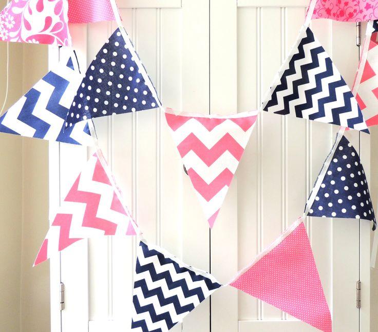 9 Feet Banner, Bunting, 21 Fabric Flags, Navy Blue and Pink Polka Dot, Chevron and Floral, Baby Nursery Decor, Wedding Garland, Birthday. $32.00, via Etsy.