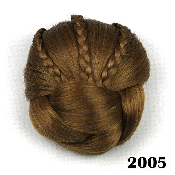 Шиньон волосы кусок, плетеные Клип В Волос Пучок, волосы Шиньон, apliques де cabelo синтетического или presilha, цвет 2005