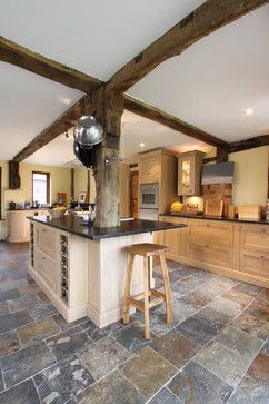 traditional kitchen slate tile floor design ideas pictures remodel and decor - Floor Tile Design Ideas