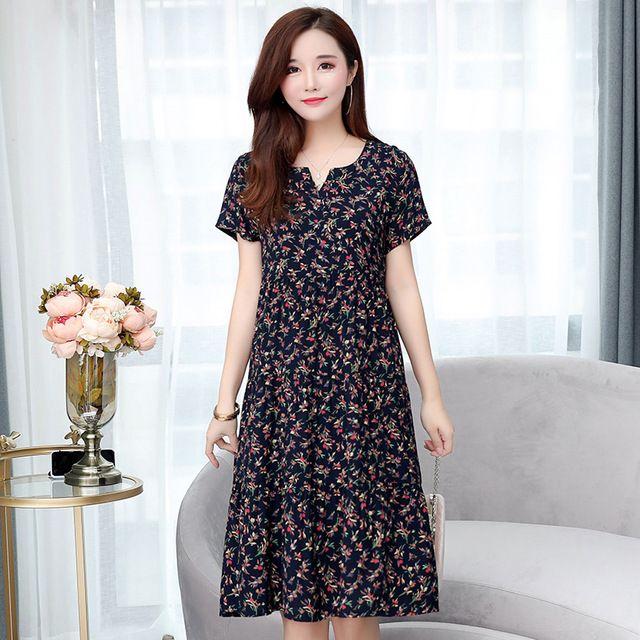 New summer women dress short sleeve o-neck casual female clothing brand plus size loose women big size dress xl-6xl