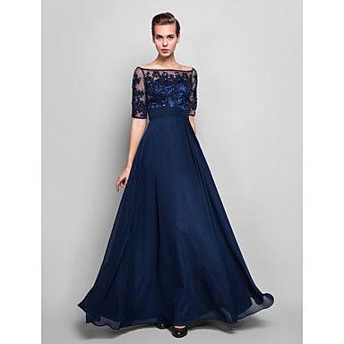 vestido de noite bainha / coluna off-the-ombro até o chão chiffon e tule (551.359) –