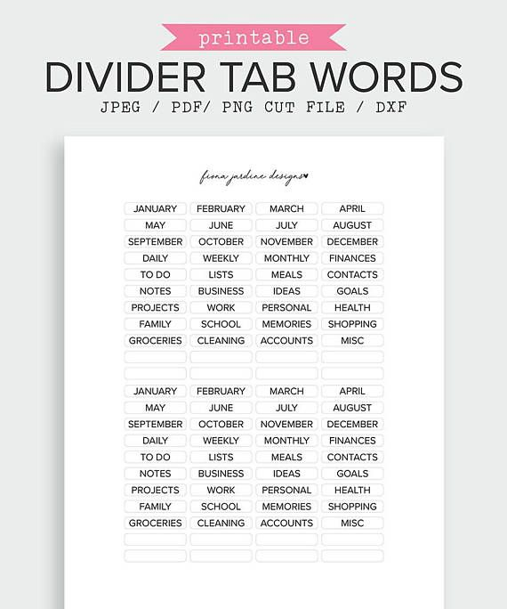 Organize your planner with these printable word stickers for planner tabs. Pack includes 72 word stickers (36 unique words) and 16 blank stickers. Each sticker measures 35mm long by 6.5mm high. Word Stickers for Planner Tabs | Divider Sticker | Divider Tabs | Printable Planner Stickers | Planner Accessories | Planner Organization