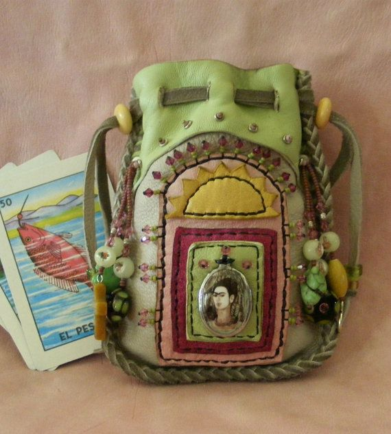 FRIDA KAHLO spirit pouch medicine bag with Frida by pradoleather