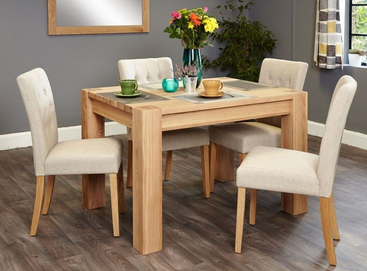Bundle Oak Dining Set Aston Table 4 Flare Back Upholstered Chairs