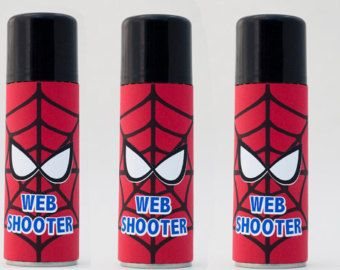 Spiderman Label for Silly String, Web Shooter Label, Silly String Label, Spiderman Favor, Spiderman Party Gift Label
