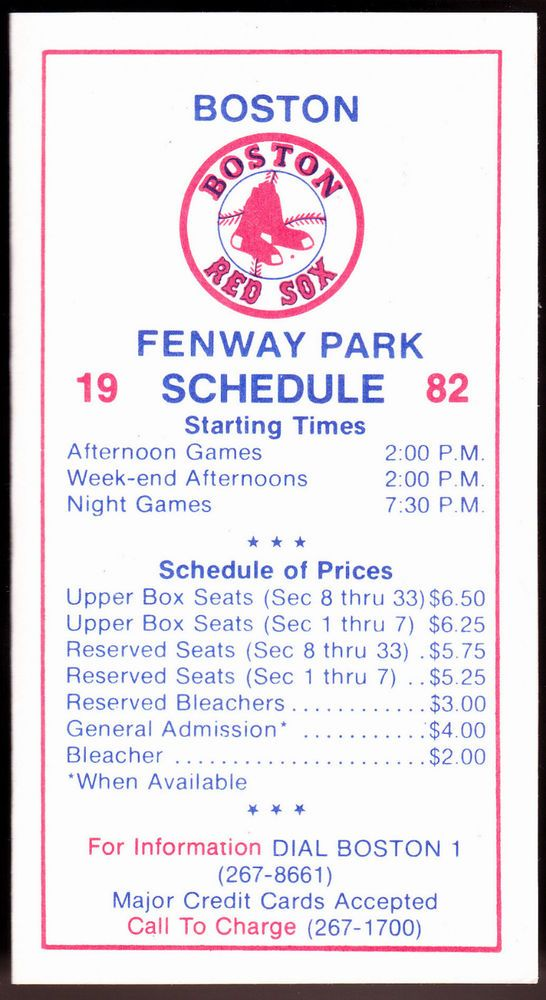 1982 BOSTON RED SOX FENWAY PARK BASEBALL POCKET SCHEDULE NMMT FREE SHIPPING #Schedule