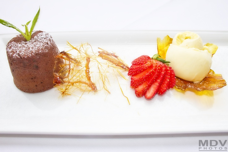 chocolate pudding with softed heart and vanilla gelato