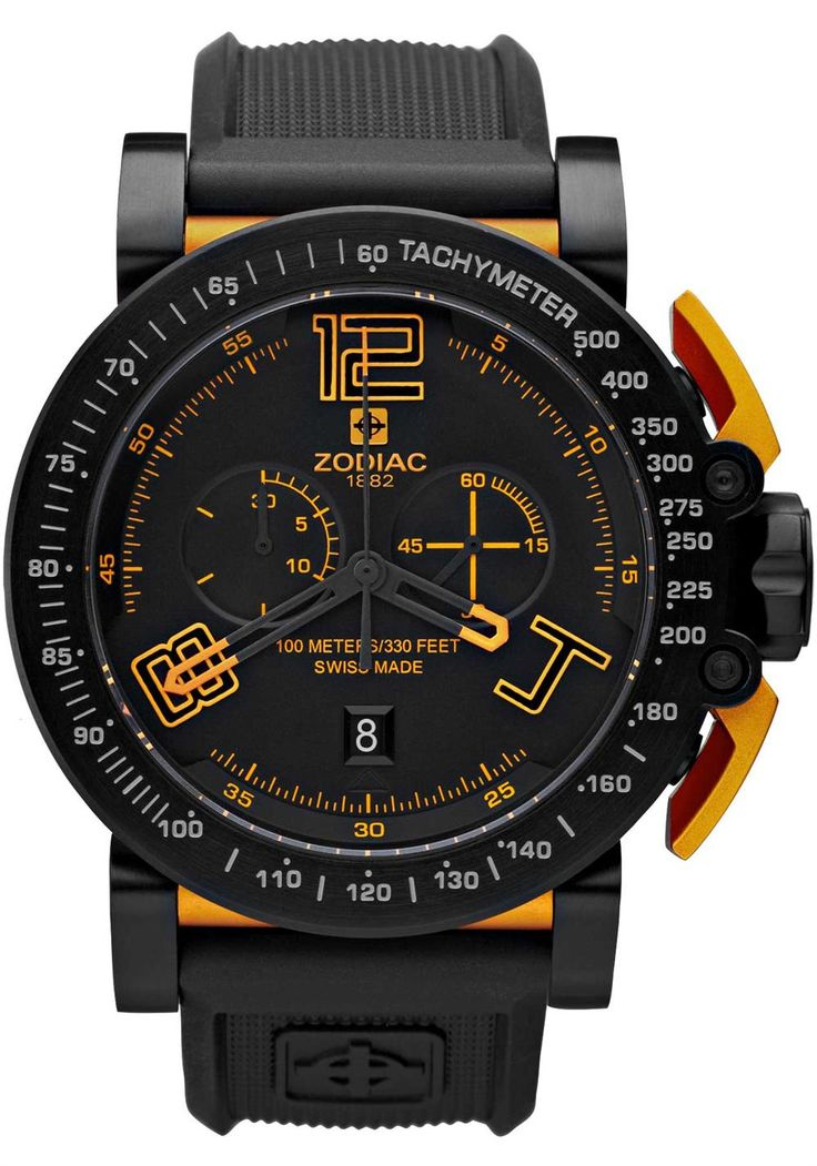 Zodiac ZO8554 Watch   Free Worldwide Shipping Our most famous race-inspired watch, developed with all the craftsmanship, precision, technical design and high-performance elements used in real motor sports. The stainless-steel and titanium case features a carbon fiber dial with super-luminova accents. We left the lugs exposed and created gold tone pushers perforated to look like actual pedals for a truly race-inspired experience. The genuine rubber strap ensures a durable (and comfortable)…