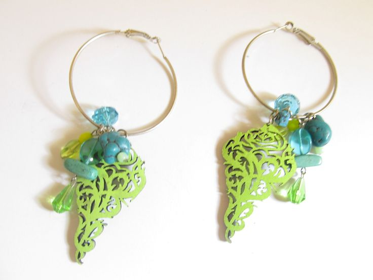 Handmade laser cut leather earrings (1 pair)  Made with light green filigrees, silver tone antiallergic earring hoops, turquoise stones and glass beads.