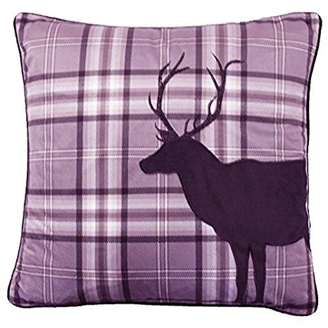 Catherine Lansfield Home Tartan Stag Embroidered Cushion Cover, Heather, 43 x 43 Cm