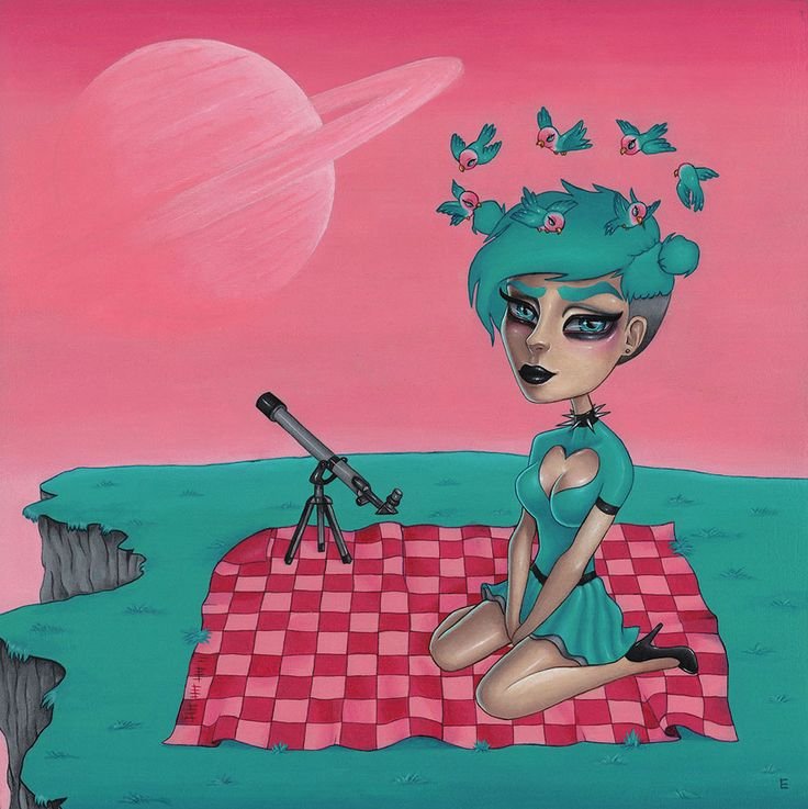 """""""Orbit"""" by Miss E, pop surrealism acrylic painting on board."""