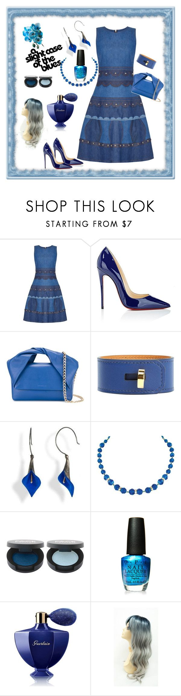 """""""The Blues"""" by jeanstapley ❤ liked on Polyvore featuring RED Valentino, Christian Louboutin, J.W. Anderson, Hermès, Capri Blue, OPI and Guerlain"""