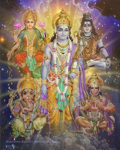 A stunning art print of Krishna, Shiva, Ganesha and Lakshmi